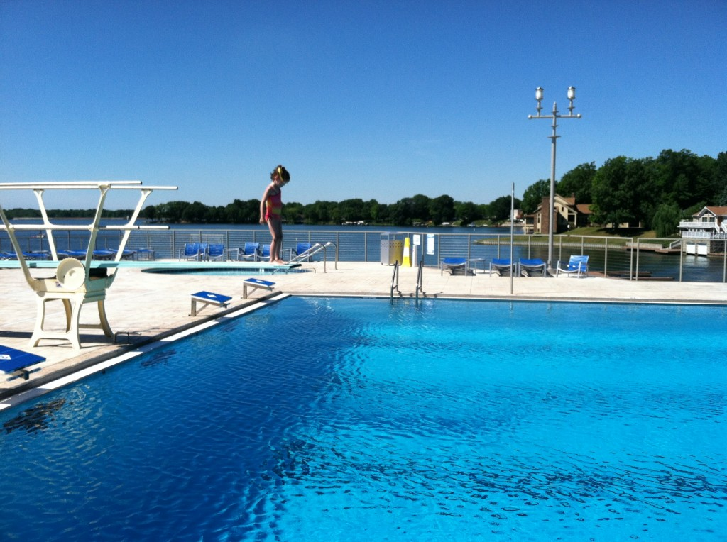 Competition size pool with diving board - overlooking Morse Lake